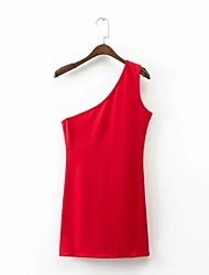 Для женщин На выход На каждый день Простое Уличный стиль Свободный силуэт Прямое Платье Однотонный Цветочный принт,На одно плечоВыше