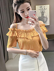 Women's Casual/Daily Simple Blouse,Solid Strap Sleeveless Polyester