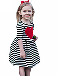 Girl's Striped Dress Cotton Summer Fall Mid Sleeve 2017 New Fashion Heart Kids Girls Dresses