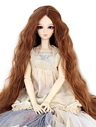 Synthetic Doll Accessories Long Kinky Curly Light Brown Color Middle Centre Hair for 1/3 1/4 Bjd SD DZ MSD Doll Costume Wigs Not for Human Adult