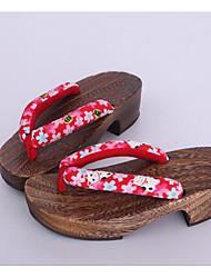 Femme Sabots & Mules Sabots & Mules Coton Tissu Printemps Automne Décontracté Rouge Moins de 2,5 cm