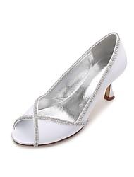 Women's Wedding Shoes Comfort Basic Pump Spring Summer Satin Wedding Dress Party & Evening Rhinestone Sparkling Glitter Chain Split Joint