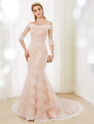 Mermaid / Trumpet Off-the-shoulder Court Train Lace Wedding Dress with Buttons by LAN TING BRIDE®