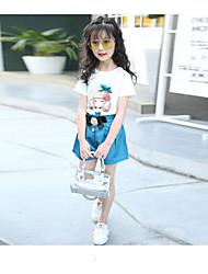 Girls' Cartoon Sets,Cotton Summer Short Sleeve Clothing Set