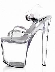 Damen Sandalen formale Schuhe PVC PU Sommer Kleid Party & Festivität Strass Schnalle Schnürsenkel Stöckelabsatz Schwarz Klar 12 cm & mehr