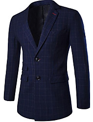 Men's Going out Casual/Daily Street chic Spring Blazer,Plaid Peaked Lapel Long Sleeve Regular Cotton Polyester