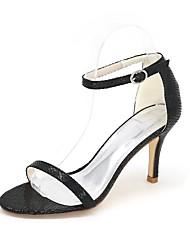 Для женщин Сандалии Обувь через палец Весна Лето Дерматин Для праздника Для вечеринки / ужина Животные принты На шпилькеБелый Черный