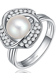 Women's Band Rings Imitation Pearl Basic Love Sexy Fashion Personalized Cute Style Luxury Classic Elegant Imitation Pearl Alloy Round