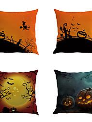 4 PC Algodón/Lino Cobertor de Cojín Funda de almohada,Estampado Novedad Clásico Clásico Neoclasicismo Retro Tradicional/Clásico Halloween