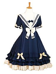 Costumes de Cosplay Marin Fête / Célébration Déguisement d'Halloween Bleu de minuit Couleur unie Robe Halloween Carnaval Féminin