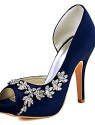 Women's Heels Basic Pump Stretch Satin Spring Summer Wedding Dress Crystal Stiletto Heel Ivory Burgundy Dark Purple Light Pink Ruby4in-4