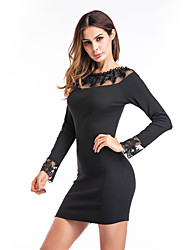 Women's Holiday Going out Casual/Daily Club Bodycon Dress,Solid Round Neck Mini Long Sleeves Polyester Fall Winter High Rise Micro-elastic