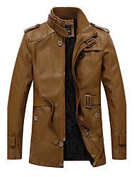 Men's Casual/Daily Vintage Fall Winter Leather Jacket,Solid Stand Long Sleeve Long PU