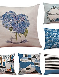 Set of 6 Novelty Blue Geometric Style Linen Cushion Cover Home Office Sofa Square Pillow Case Decorative Cushion Covers Pillowcases (18*18Inch)