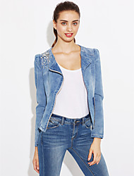 Feminino Jaqueta jeans Casual Trabalho Simples Primavera,Sólido Curto Outros Colarinho de Camisa Manga Longa