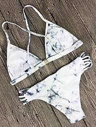 Women's Halter Bikini Lace Up Plunging Neckline Print Sexy Bikini Sets Swimwear Suits