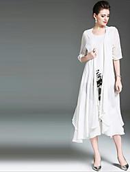 Feminino balanço Vestido,Casual Sensual Sólido Decote V Médio Meia Manga Seda Verão Cintura Média Micro-Elástica Transparente