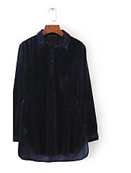 Chemise Robe Femme Soirée Décontracté / Quotidien simple Chic de Rue,Couleur Pleine Col de Chemise Mini Manches Longues VeloursPrintemps