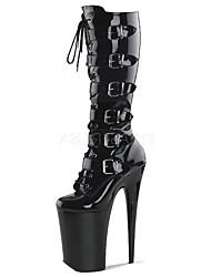 Mujer Botas Botas de Moda PU Invierno Fiesta y Noche Hebilla Con Cordón Tacón Stiletto Negro 12 cms y Más
