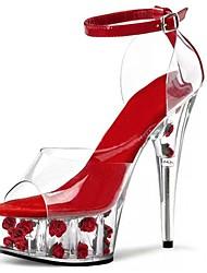 Damen Sandalen formale Schuhe PVC Sommer Kleid Party & Festivität Kristall Schnalle Blume Stöckelabsatz Weiß Fuchsia Pink Rot 12 cm & mehr