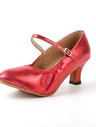 Women's Modern Synthetic Microfiber PU Leatherette Heels Sneakers Professional Cuban Heel Ruby Silver Black Gold Customizable