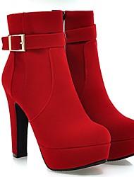 Damen Schuhe Vlies Winter Modische Stiefel Stiefel Blockabsatz Booties / Stiefeletten Mit Für Normal Schwarz Rot Blau