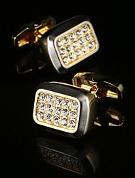 2017 New Luxury Gold Shirt Cufflinks for Mens Wedding Gift Brand Cuff Buttons Crystal Cuff link Gemelos Abotoadura Jewelry
