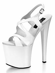 Damen Sandalen formale Schuhe PU Sommer Kleid Party & Festivität Schnalle Schnürsenkel Stöckelabsatz Weiß Schwarz 12 cm & mehr