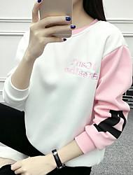 Mujer Tallas pequeñas Sudadera Activo Un Color Escote Redondo Forro de Lana Algodón Manga Larga Otoño