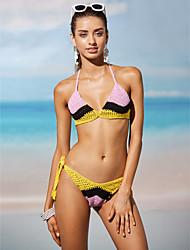 Bikini Da donna Monocolore Uncinetto Con laccetti Elastene