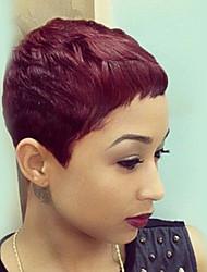 Romantique, belle, rouge foncé, court, droit, cheveux, cheveux, perruques