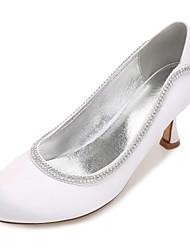 Women's Wedding Shoes Comfort Basic Pump Spring Summer Satin Wedding Dress Party & Evening Rhinestone Sparkling Glitter Chain Low Heel