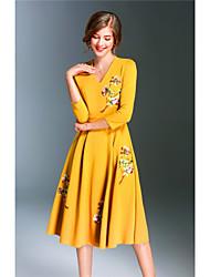 Swing Vestito Da donna-Per uscire Casual Stoffe orientali Fantasia floreale A V Medio Manica a 3/4 Cotone Acrilico ElastenePrimavera