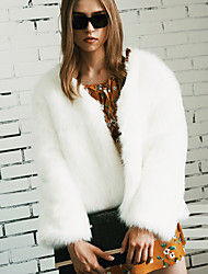 Women's Plus Size Going out Simple Fall Winter Fur Coat,Solid V Neck Long Sleeve Regular Faux Fur
