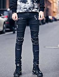 Masculino Simples Cintura Média Micro-Elástica Justas/Skinny Jeans Calças,Skinny Sólido,Pregueado rasgado