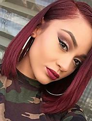 Capelli vergini brasiliani parrucche incrociate frontali pizzo capelli diritti bordeaux capelli corti bob capelli umani per donna 130%