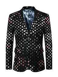 Men's Plus Size Party/Cocktail Club Street chic Punk & Gothic Spring Fall Blazer,Color Block V Neck Long Sleeve Regular Cotton Polyester