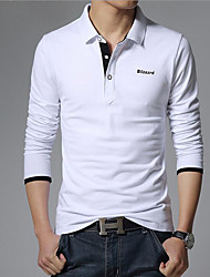 Men's Casual/Daily Simple Summer Polo,Solid Shirt Collar Long Sleeves Cotton