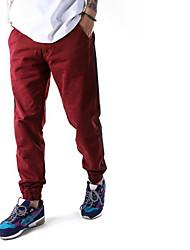 Hombre Activo Tiro Medio Inelástica Chinos Pantalones,Delgado Un Color