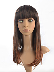 Synthetic Long Straight Wig Brown Mix Bob Neat Bangs Hairstyle For Women Full Wig