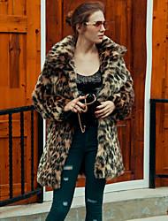 Mujer Simple Activo Noche Casual/Diario Trabajo Otoño Invierno Abrigo de Piel,Cuello Camisero Leopardo Manga Larga Piel Sintética Largo