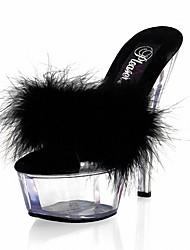 Для женщин Сандалии Формальная обувь Кожа / мех ПВХ Лето Для праздника Для вечеринки / ужина Кристаллы Пух На шпильке Белый Черный Красный