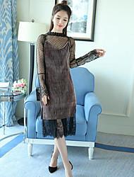 Largo Vestito Da donna-Casual Tinta unita Colletto alla coreana Medio Manica lunga Cotone Estate A vita medio-alta Media elasticità