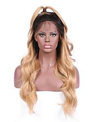 Ombre t1b / 27 body wave lace frente perucas de cabelo humano com cabelo bebê 130% densidade pelúcia virgem virgem de cabelo virgem