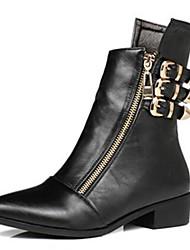 Для женщин Обувь Полиуретан Осень Зима Удобная обувь Ботинки С Назначение Повседневные Черный
