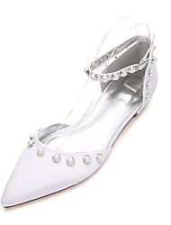 Women's Wedding Shoes Comfort Mary Jane D'Orsay & Two-Piece Spring Summer Satin Wedding Dress Party & Evening Pearl Imitation Pearl Flat