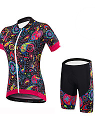 Cycling Jersey with Shorts Women's Short Sleeves Bike Shorts Jersey Padded Shorts/Chamois Bottoms Clothing Suits Spandex 100% Polyester