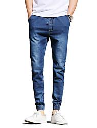 Homme simple Taille Normale Micro-élastique Jogger Jeans Pantalon,Mince Couleur Pleine