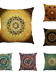 Set Of 6 Vintage Bohemia Style Design Flowers Pillow Cover Classic Square Pillow Case Sofa Cushion Cover Home Decor