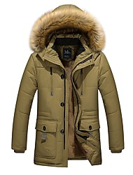 Men's Plus Size Casua Slim Zipper Design Thickening Warm Windproof Medium Long Hooded Padded Coat